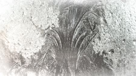 иней : Frost on a winter window glass
