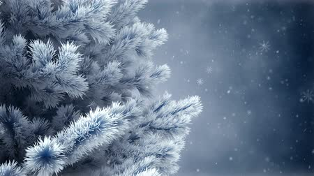 fantasy fantastic : New Year tree with falling snowflakes Stock Footage