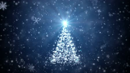 pré natal : Growing New Year tree with falling snowflakes and stars