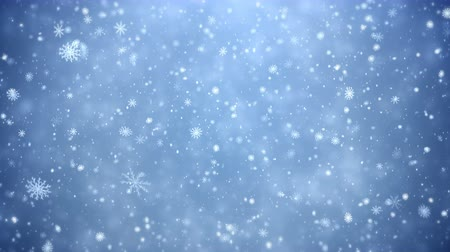 sniezynka : Winter Christmas background, falling snowflakes 4K