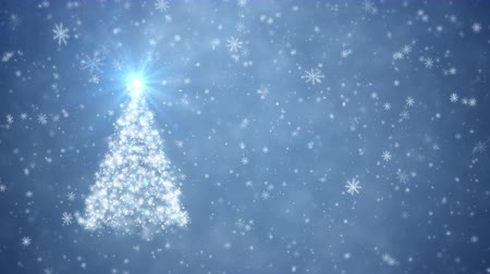 С Рождеством : Growing Christmas tree with falling snowflakes Стоковые видеозаписи