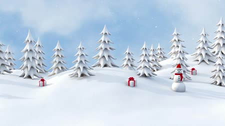 С Рождеством : Winter pine forest with Christmas Gifts and snowmen