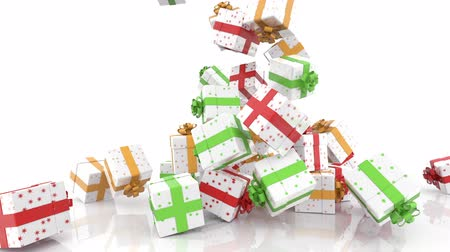 hediye kutusu : Falling Christmas gift boxes on white background