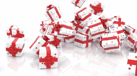 подарок : Falling Christmas gift boxes on white background