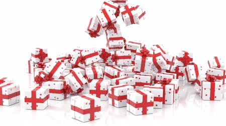 hediyeler : Falling Christmas gift boxes on white background