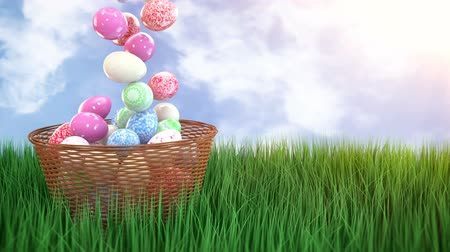 hasır : Easter eggs in a wicker basket