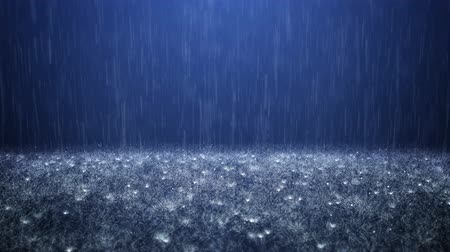 Rain on darkly blue background
