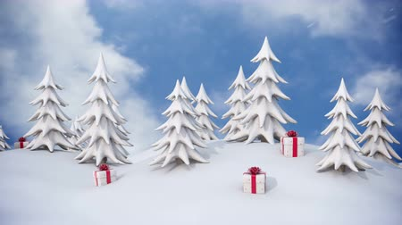 Winter background, snowy pine trees and Christmas gift boxes with falling snow Stockvideo