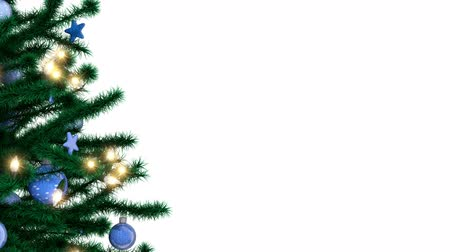 Decorated Christmas tree with sparkling light garland, balls and stars isolated on white background Stockvideo