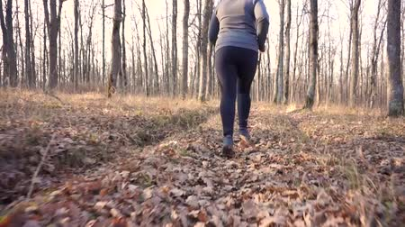 やる気 : Motivated fat girl runs through forest to fight overweight.Slow motion.