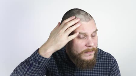 hair growth : Human alopecia or hair loss.Adult man hand pointing his bald head.