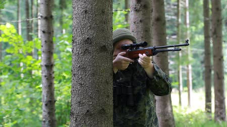 ohař :  Man with optical rifle and binoculars in the woods episode 6