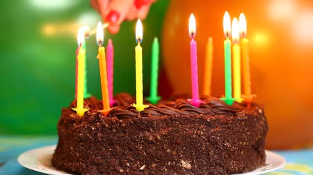 cakes : Candles on the birthday cake episode 1 Stock Footage