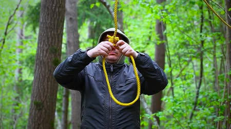 fatality : Man with noose in the woods episode 1 Stock Footage