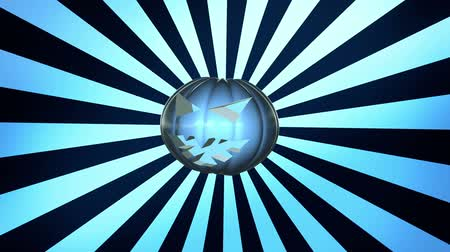 október : Abstract pumpkin head over sunburst in blue Stock mozgókép