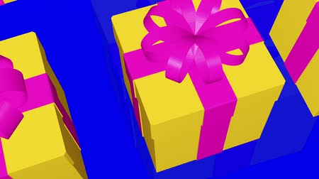 годовщина : Yellow Gift boxes on a blue background