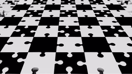 головоломка : Rotating puzzle pieces in black and white Стоковые видеозаписи