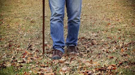 bengala : Man with walking stick on the grass Stock Footage