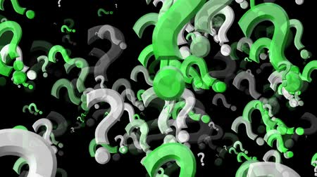 warsztat : Abstract flying Question marks in green and white Wideo