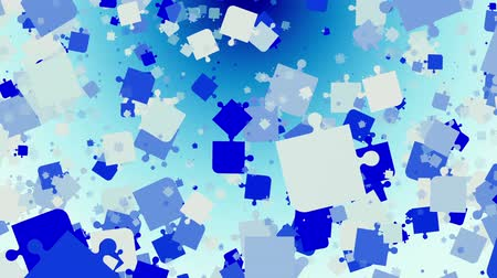 головоломка : Abstract puzzle pieces in blue on white