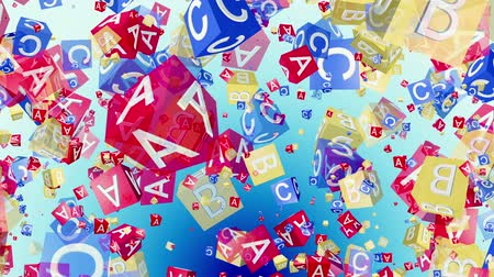 alphabet : Flying alphabet cubes in red,blue and yellow Stock Footage