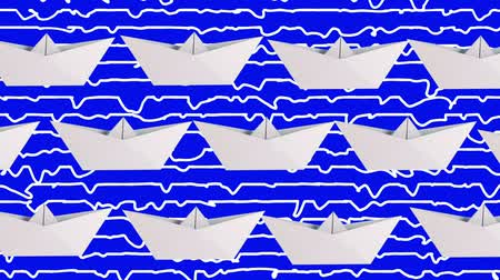 бумага : Paper boats in white on blue