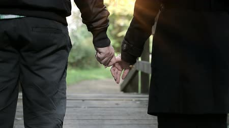namoro : Couple holds hands together in the park