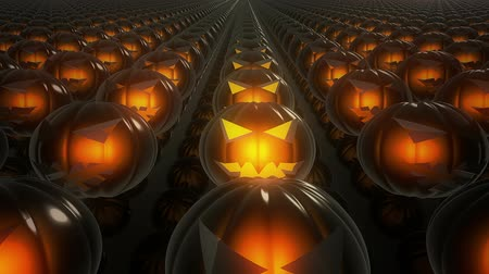 dynia : Pumpkin heads in rows on dark mirror floor