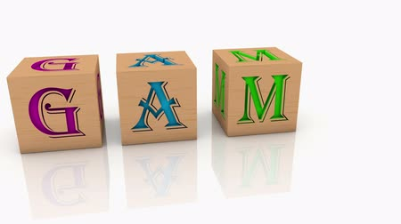 alphabet : Toy cubes with message GAME Stock Footage