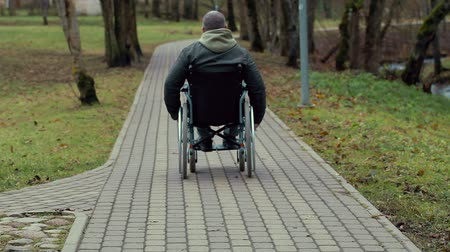 medicals : Disabled man in wheelchair on path in the park