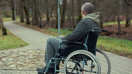 medicals : Disabled man in wheelchair waiting for assistance on path in the park Stock Footage