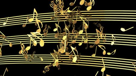 музыкальный : Abstract flying musical Notes in golden color