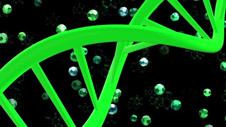 medicals : DNA helix in green on dark green