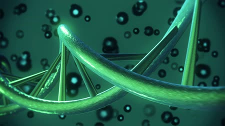 medicals : DNA helix in dark green color Stock Footage