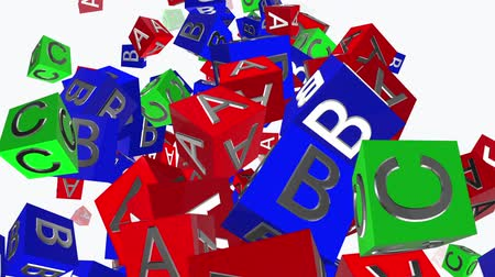 alphabet : Toy cubes with letters A,B,C on white Stock Footage