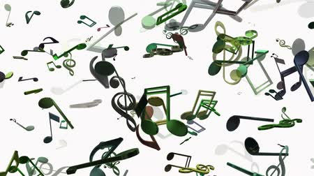 музыкальный : Flying musical notes in various colors on white