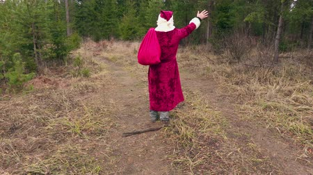 hat : Santa claus walking and say goodbye to forest