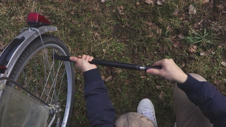 air pump : Pumping the bicycle tire Stock Footage