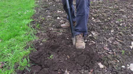 pikk : Man digging with spade soil.Farming and gardening concept