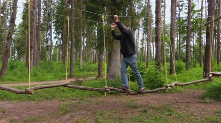 zip line : Man doing leisure and activities on nature