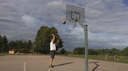 hoop : Basketball player perfectly throw ball in basket