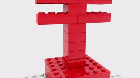 lego : Japan yen sign built from toy bricks on white Stock Footage