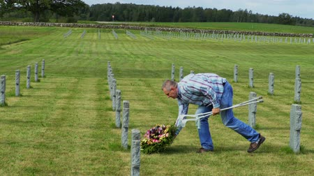 comemoração : Disabled veteran put flower wreath on the grave Stock Footage