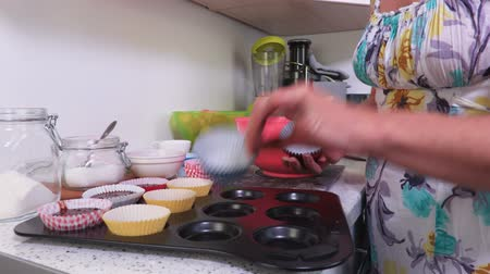 baking ingredient : Paper shapes sorted on a silicone tray Stock Footage