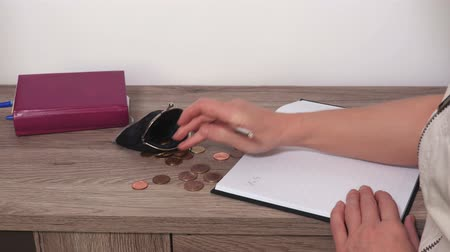 Woman counts coins and makes notes on pad