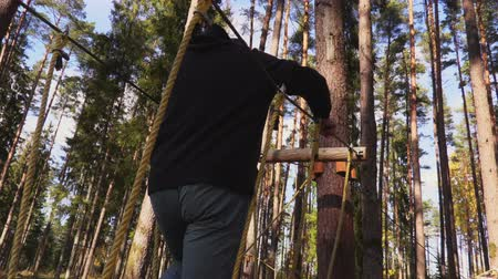 zip line : Camera follows man walking on cables between trees Stock Footage