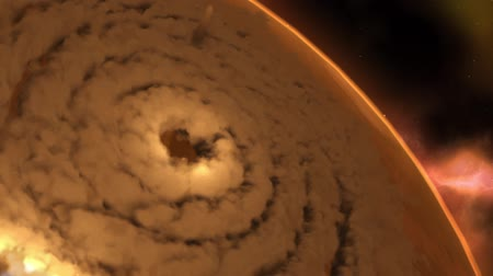 Марс : Zoomed out visual of mars sandstorm with debris shooting out.