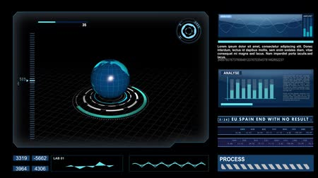 statistic : Futuristic global data reading interface and display Stock Footage