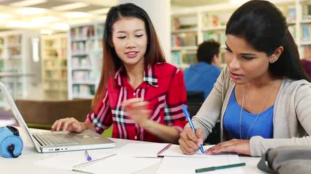 indian ethnicity : Young students discussing at library