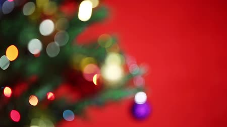 фокус : Focus shot of Christmas tree Стоковые видеозаписи